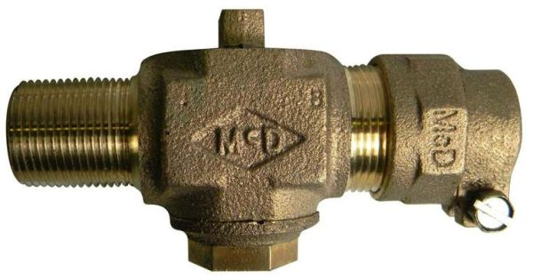 "3/4"" Brass Plug Style Corporation Stop Valve - MPT x CTS Compression, 100 psi"