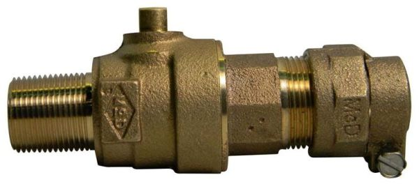 "1"" Brass Ball Style Corporation Stop Valve - MPT x CTS Compression, 300 psi"