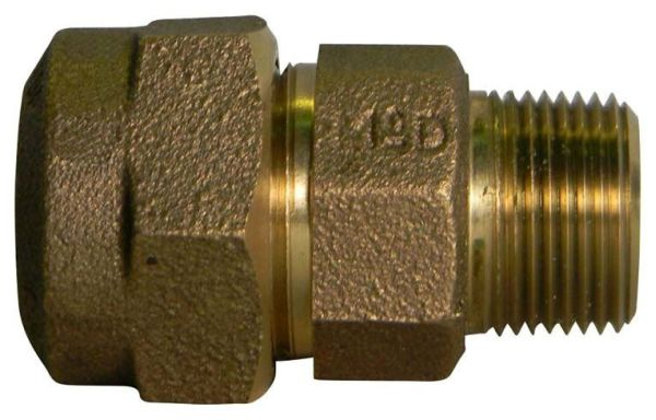 """3/4"""" Brass Straight Coupling - CTS Compression x MPT"""