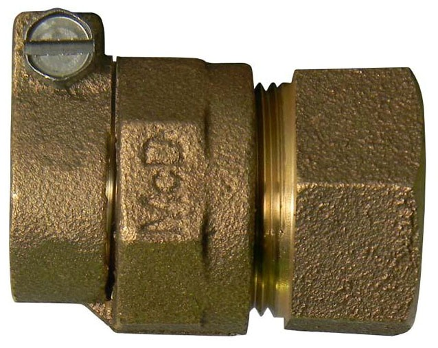 "3/4"" Brass Straight Coupling - CTS Compression x FPT"