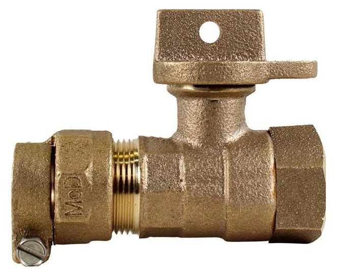 "1-1/2"" Brass Ball Style Curb Stop Valve - Locking Handle, CTS Compression x FPT, 300 psi"