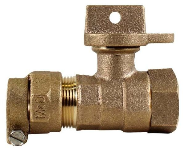 "1"" Brass Ball Style Curb Stop Valve - Locking Handle, CTS Compression x FPT, 300 psi"