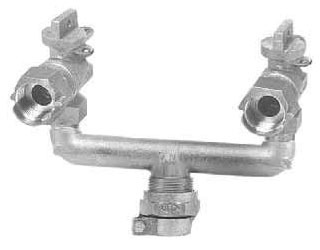CTS Compression/Meter Swivel U-Branch Assembly and Valve, Brass