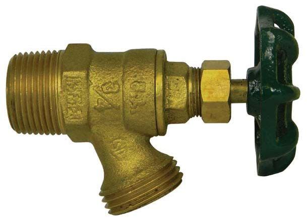 "1/2"" x 3/4"" Brass Low Pressure Boiler Drain Valve - Handwheel, MPT x GHT, 125 psi WOG"