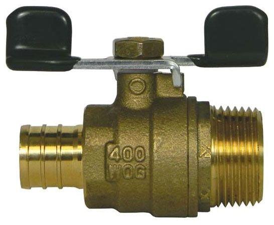 "3/4"" Brass Standard Port Ball Valve - PEX x MPT, 400 psi WOG"