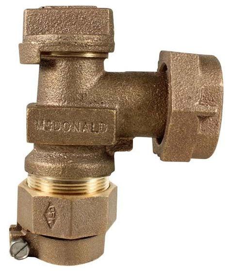 "3/4"" Brass Plug Style Meter Stop Valve - Locking Handle, CTS Compression x Meter Swivel Nut, 100 psi"