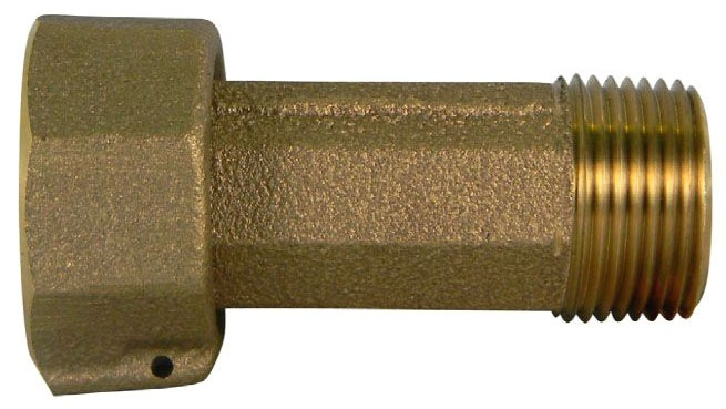 "3/4"" x 2-1/2"" Brass Meter Reducing Coupling - Swivel Nut x MPT"