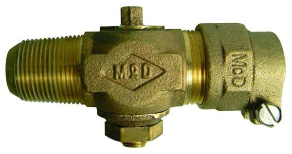 "1"" Brass Plug Style Corporation Stop Valve - AWWA / CC MPT x CTS Compression, 100 psi"