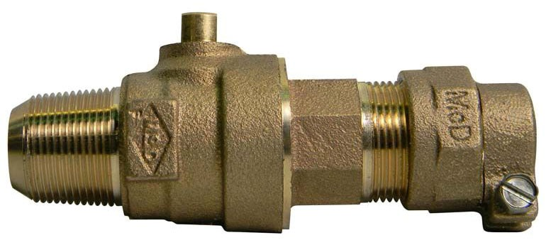 "2"" Ball Corporation Stop - CC x CTS, 300 PSI, Brass, Full Port"