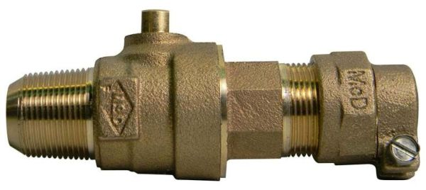 "1"" Brass Ball Style Corporation Stop Valve - AWWA / CC MPT x CTS Compression, 300 psi"