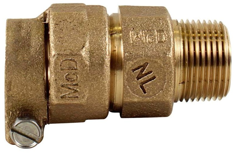 "1"" Brass Straight Coupling - CTS Compression x MPT"