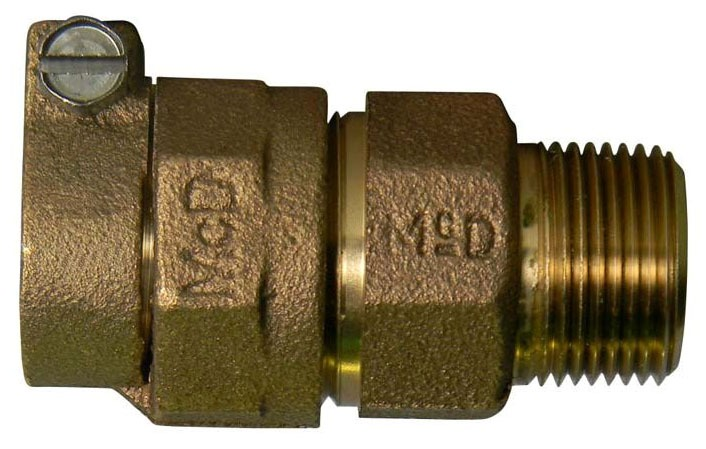 "2"" Brass Straight Coupling - PVC Compression x MPT"