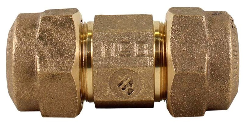 "3/4"" Brass Straight Coupling - CTS Compression"