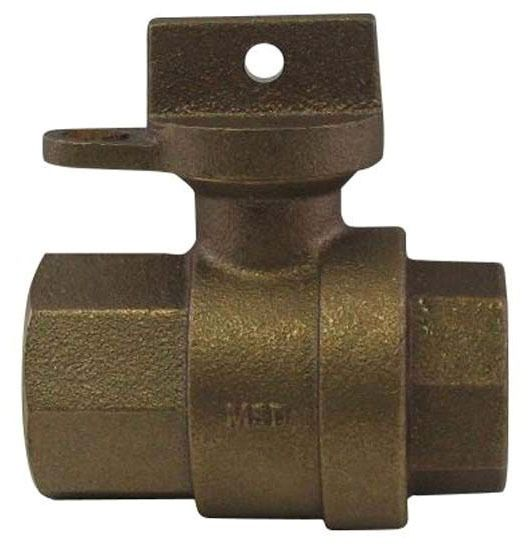 "1"" Brass Ball Style Curb Stop Valve - Locking Handle, FPT, 300 psi"