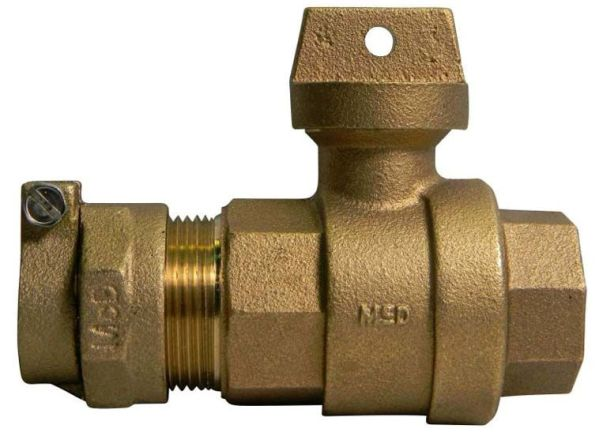 "1"" Brass Ball Style Curb Stop Valve - CTS Compression x FPT, 300 psi"