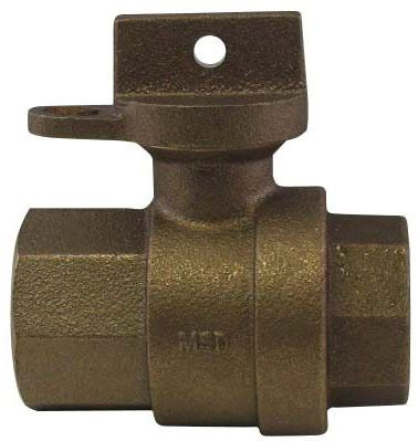 "3/4"" Brass Ball Style Curb Stop Valve - Locking Handle, FPT, 300 psi"