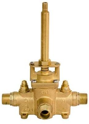 "1/2"" Pressure Balancing Shower Trim Valve - MPT / Soldered, Solid Brass, 3-Port"
