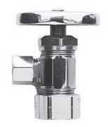 """1/2"""" x 3/8"""" Polished Chrome Solid Brass Angle Valve - Oval Handle, FPT x Compression"""