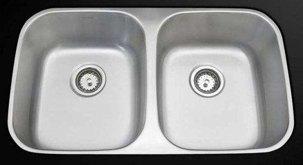 "32"" x 18"" x 8"" Undermount Double-Equal Bowl Kitchen Sink - Economy, Brushed, Stainless Steel"