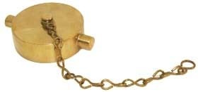 "2-1/2"" Fire Hose Cap and Chain, Cast Brass"