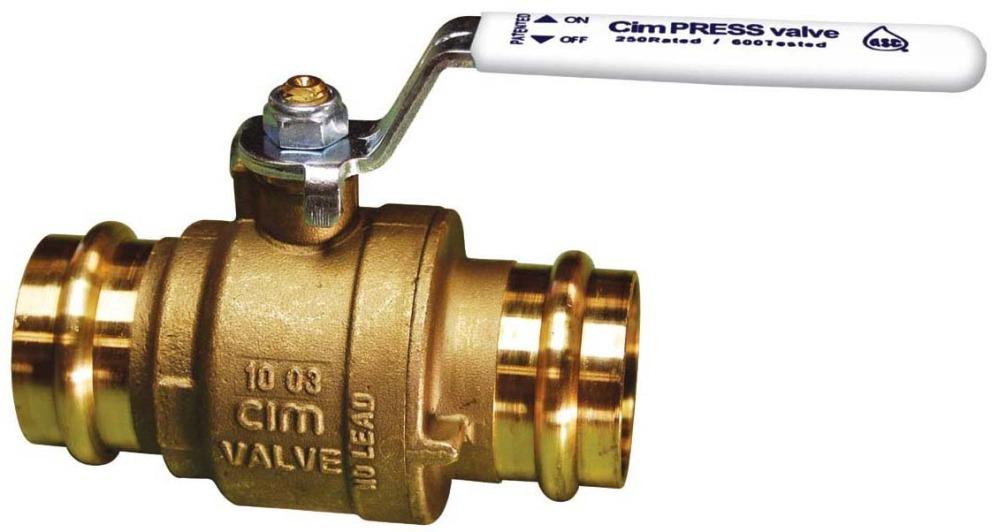"1-1/2"" DZR Brass Full Port Ball Valve - CimPRESS, Lever Handle, Press, 250 psi"