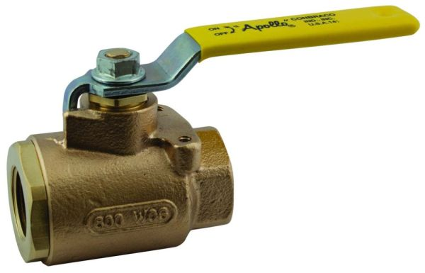 "1"" Bronze Full Port Ball Valve - Lever Handle, FPT, 600 psi CWP, 150 psi SWP"