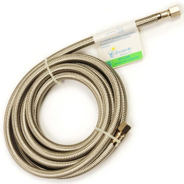 """1/4"""" C Ice Maker Connector - CrownFLEX, Stainless Steel Braided"""