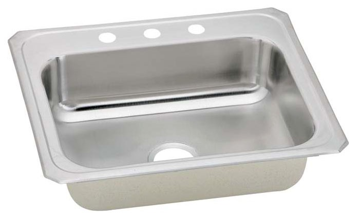 "20 Gauge Stainless Steel 25"" X 21-1/4"" X 6-7/8"" Brushed Satin Single Bowl 3-Faucet Hole Top Mount Kitchen Sink"