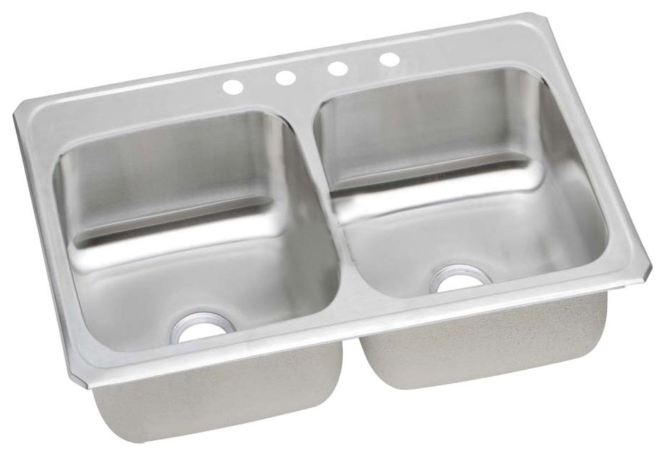 "20 Gauge Stainless Steel 33"" X 21-1/4"" X 6-3/4"" Brushed Satin Double Bowl 3-Faucet Hole Top Mount Kitchen Sink"
