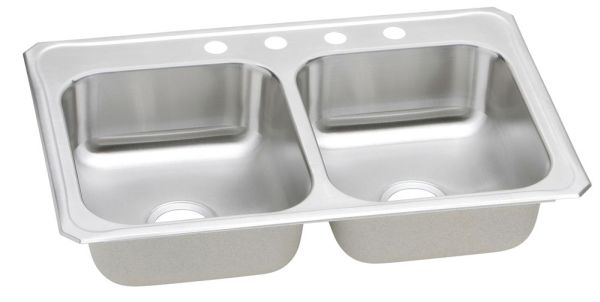 "33"" x 22"" x 7"" Top / Drop-In Mount Double-Equal Bowl Kitchen Sink - Gourmet / Celebrity, Brushed Satin, Stainless Steel"