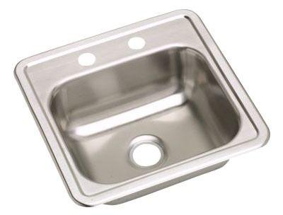 Top Mount Single Bowl Bar Sink - Dayton, 2-Hole, Satin, Stainless Steel