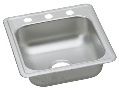 "22 Gauge Stainless Steel 17"" X 19"" X 6-3/16"" Satin Single Bowl 2-Faucet Hole Top Mount Bar/Prep Sink"