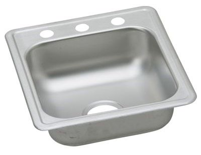 """Dayton Stainless Steel 17"""" x 19"""" x 6-1/8"""", Single Bowl Top Mount Bar Sink"""