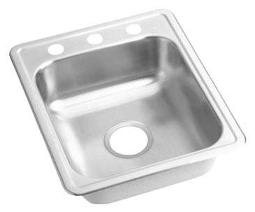 "22 Gauge Stainless Steel 17"" X 21-1/4"" X 6-1/2"" Satin Single Bowl 2-Faucet Hole Top Mount Bar/Prep Sink"