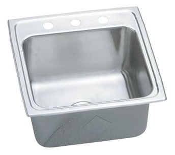 """18 Gauge Stainless Steel 19-1/2"""" X 19"""" X 10-1/8"""" Lustertone Single Bowl Top Mount Laundry/Utility Sink"""