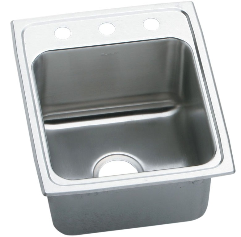 "18 Gauge Stainless Steel 19-1/2"" X 19"" X 10-1/8"" Lustertone Single Bowl 3-Faucet Hole Top Mount Laundry/Utility Sink"