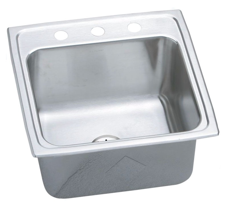 """18 Gauge Stainless Steel 19-1/2"""" X 19"""" X 10-1/8"""" Lustertone Single Bowl 3-Faucet Hole Top Mount Laundry/Utility Sink W/Drain and Strainer"""
