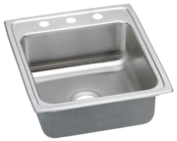 "18 Gauge Stainless Steel 19-1/2"" X 22"" X 10-1/8"" Lustertone Single Bowl 3-Faucet Hole Top Mount Kitchen Sink"