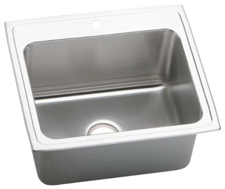 "18 Gauge Stainless Steel 25"" X 22"" X 10-3/8"" Lustertone Single Bowl 3-Faucet Hole Top Mount Kitchen Sink"