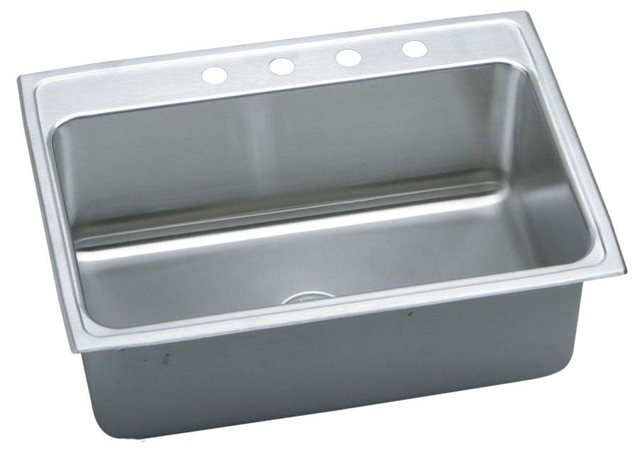 "18 Gauge Stainless Steel 31"" X 22"" X 10-1/8"" Lustertone Single Bowl 4-Faucet Hole Top Mount Kitchen Sink"
