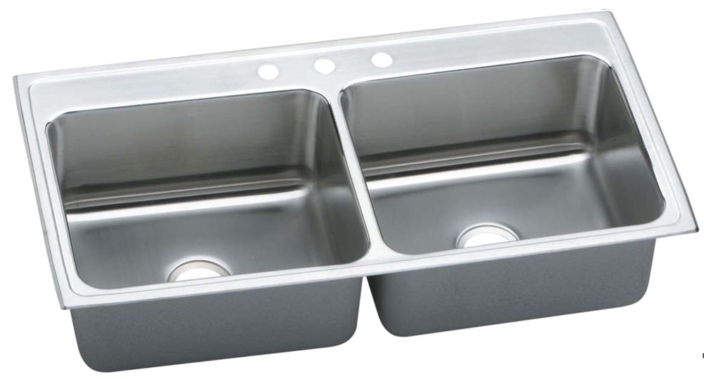 "18 Gauge Stainless Steel 43"" X 22"" X 10-1/8"" Lustertone Double Bowl 3-Faucet Hole Top Mount Kitchen Sink"