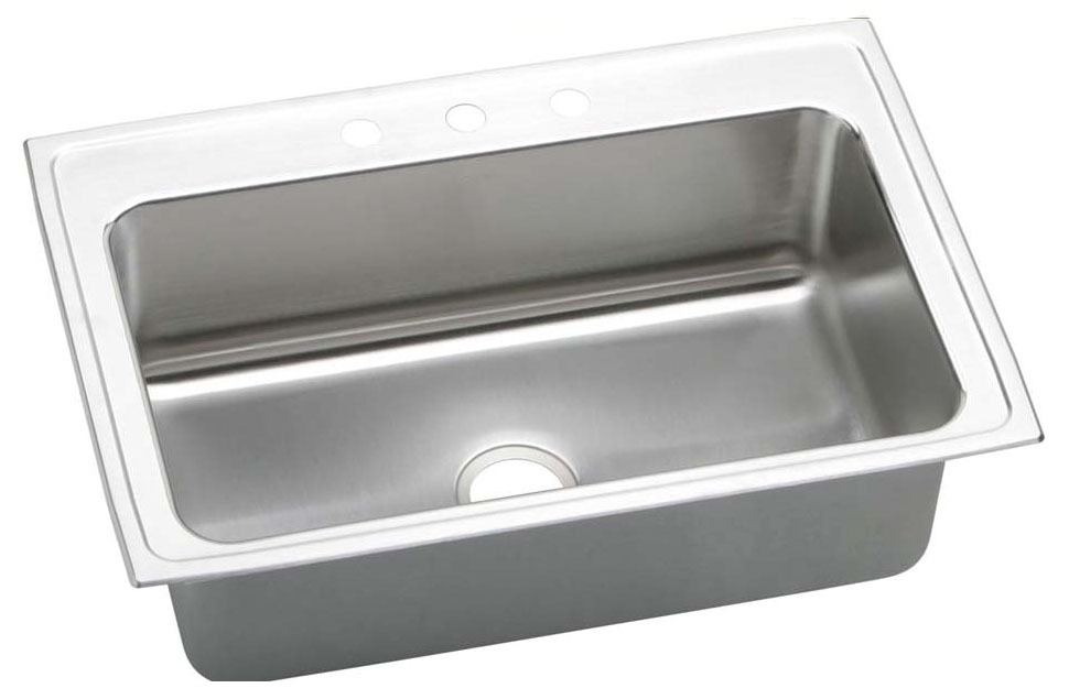 18 Gauge Stainless Steel 33X22X10.125 Single Bowl Top Mount Kitchen Sink