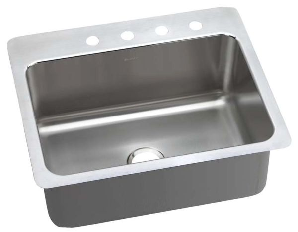 """18 Gauge Stainless Steel 27"""" X 22"""" X 10"""" Lustertone Single Bowl 3-Faucet Hole Dual/Universal Mount Kitchen Sink"""