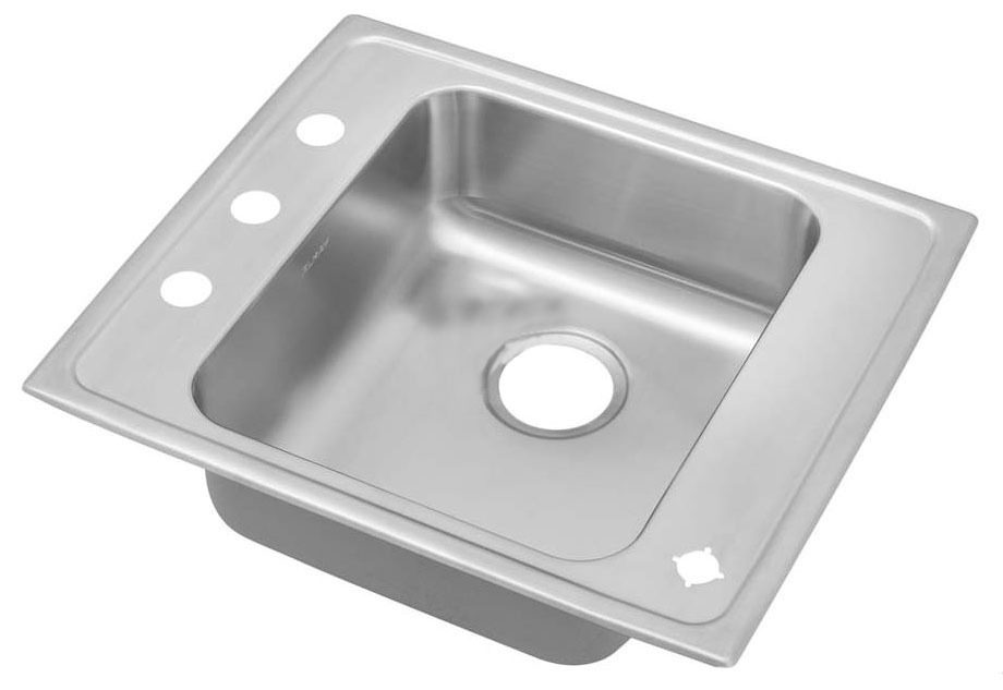 Top Mount Single Bowl Classroom Sink - Lustertone, 2-Hole, Lustrous Highlighted Satin, Stainless Steel