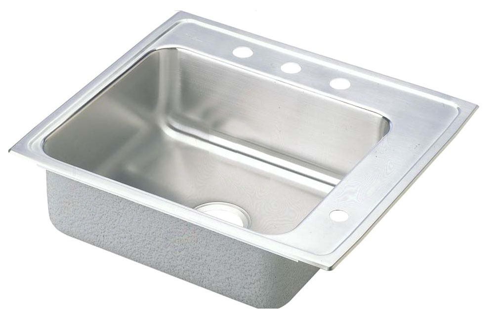 """18 Gauge Stainless Steel 22"""" X 19-1/2"""" X 5-1/2"""" Lustertone Single Bowl 4-Faucet Hole Right Top Mount Sink"""