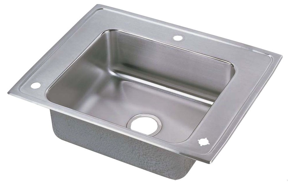"18 Gauge Stainless Steel 28"" X 22"" X 5-1/2"" Lustertone Single Bowl Rear 3-Faucet Hole Top Mount Sink W/Faucet Bubbler and Strainer"