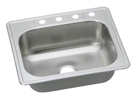 "20 Gauge Stainless Steel 25"" X 22"" X 8-1/16"" Elite Satin Single Bowl 3-Faucet Hole Top Mount Kitchen Sink"