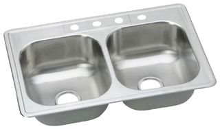"Dayton Stainless Steel 33"" x 22"" x 8-1/16"", Equal Double Bowl Top Mount Sink"