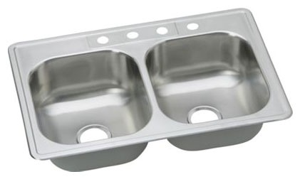 "33"" x 22"" x 8-1/6"" Top / Drop-In Mount Double-Equal Bowl Kitchen Sink - Dayton, Elite Satin, Stainless Steel"