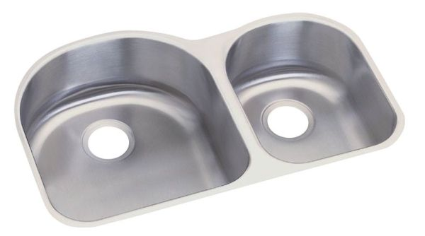 "18 Gauge Stainless Steel 31-1/4"" X 20"" X 8"" Radiant Satin Double Bowl Undermount Kitchen Sink Right Hand"